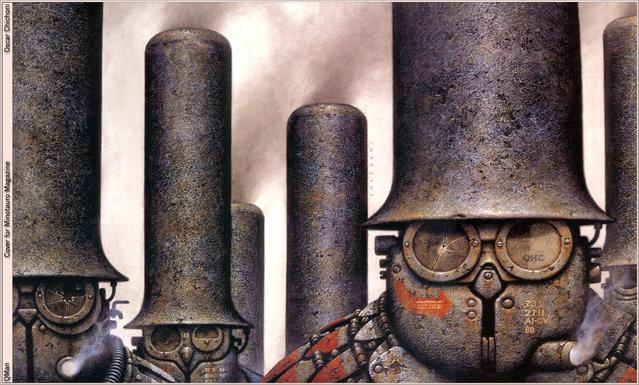 Chimney Hats – Cover for Minotauro Magazine. Artwork by Oscar Chichoni