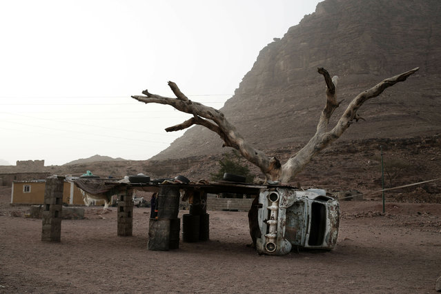 In this March 30, 2019 photo, shows remains of a car used to as a base for shelter in Wadi Sahw, Abu Zenima, in South Sinai, Egypt. (Photo by Nariman El-Mofty/AP Photo)