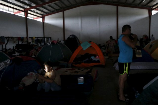 A Cuban migrant looks at his mobile phone next to tents in a provisional shelter in Paso Conoa, at the border with Costa Rica March 20, 2016. (Photo by Carlos Jasso/Reuters)
