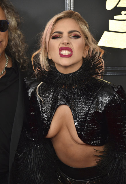 Lady Gaga poses at the 59th annual Grammy Awards at the Staples Center on Sunday, February 12, 2017, in Los Angeles. (Photo by Jordan Strauss/Invision/AP Photo)