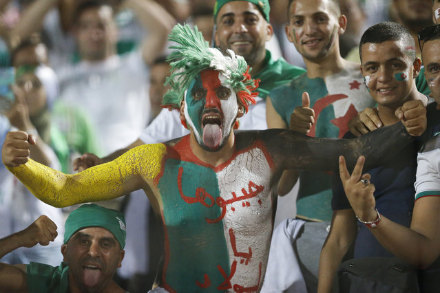 Algerian fans cheer before the African Cup of Nations final soccer match between Algeria and Senegal in Cairo International stadium in Cairo, Egypt, Friday, July 19, 2019. (Photo by Ariel Schalit/AP Photo)