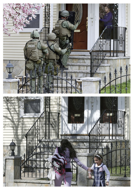 This combination of April 19, 2013 and April 9, 2014 photos show police going door-to-door as they searched for Boston Marathon bombing suspect Dzhokhar Tsarnaev in Watertown, Mass., and a child walking past the same home after school almost a year later. (Photo by Charles Krupa/AP Photo)