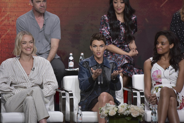 "Rachel Skarsten, from left, Ruby Rose and Meagan Tandy participate in The CW ""Batwoman"" panel during the Summer 2019 Television Critics Association Press Tour at the Beverly Hilton Hotel on Sunday, Aug. 4, 2019, in Beverly Hills, Calif. (Photo by Richard Shotwell/Invision/AP Photo)"