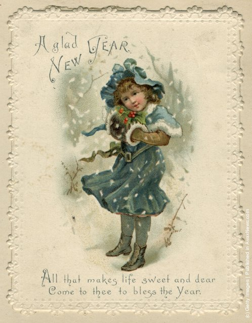 1871: A young girl in the snow, on this sentimental Victorian Christmas card