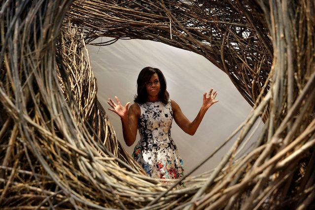 U.S. First lady Michelle Obama gestures as she visits the Renwick Gallery with spouses of Nordic Summit leaders in Washington, U.S., May 13, 2016. (Photo by Yuri Gripas/Reuters)