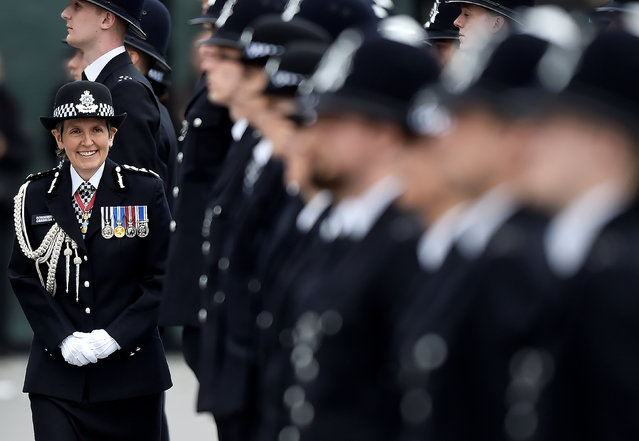 London's Metropolitan Police Commissioner Cressida Dick, inspects new recruits at a passing-out parade at the Metropolitan Police Academy in London, Britain, April 21, 2017. (Photo by Hannah McKay/Reuters)