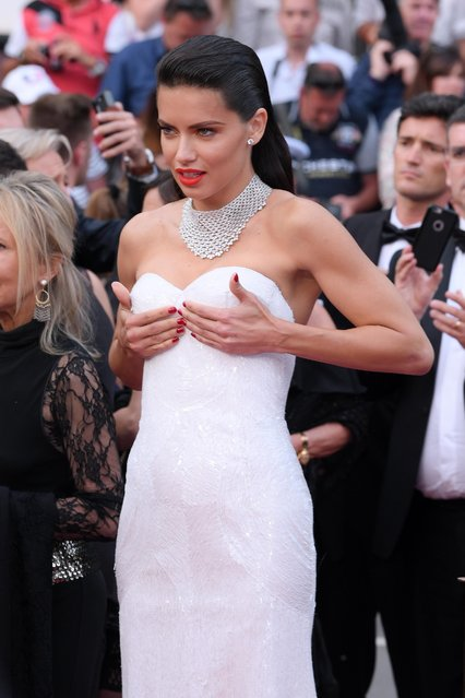 "Model Adriana Lima attends the ""Loveless (Nelyubov)"" screening during the 70th annual Cannes Film Festival at Palais des Festivals on May 18, 2017 in Cannes, France. (Photo by David Fisher/Rex Features/Shutterstock)"