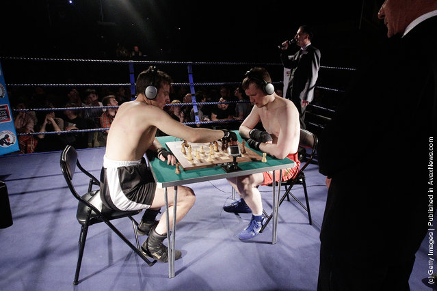 Mike 'The Bedfordshire Bull Botteley' (left) takes on Chris 'The General' Levy during a Chessboxing bout at the Scala nightclub