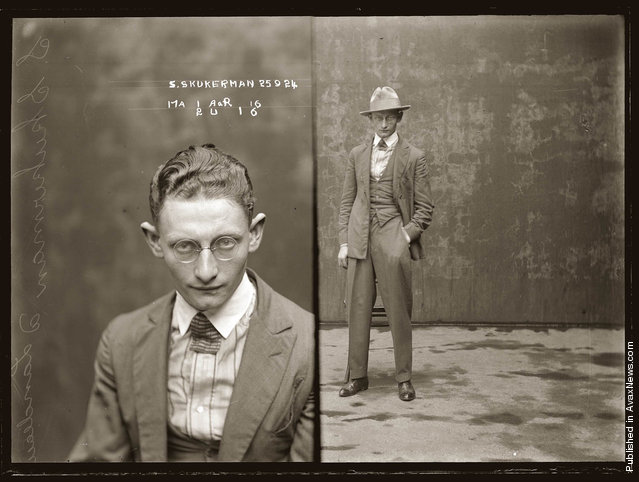 Mug shot of Sydney Skukerman, or Skukarman, 25 September 1924, Central Police Station, Sydney