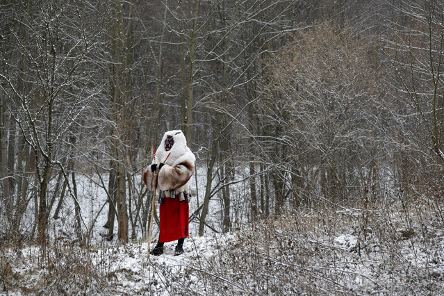 Revelers depicting devil waits in the woods during a traditional St Nicholas procession in the village of Valasska Polanka, Czech Republic, Saturday, December 7, 2019. (Photo by Petr David Josek/AP Photo)
