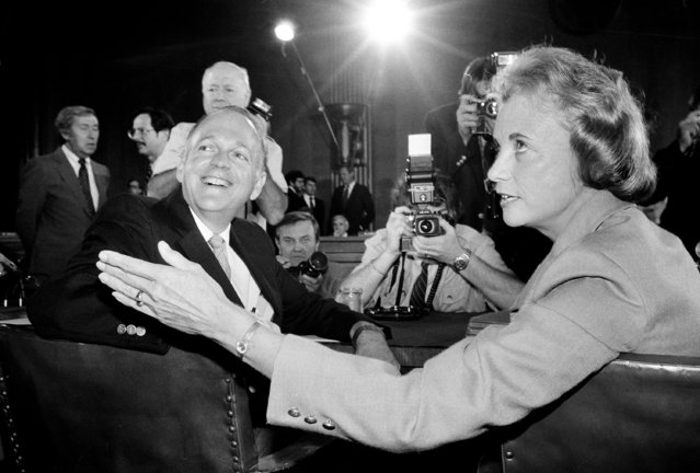 Supreme Court nominee Sandra Day O'Connor is pictured alongside Sen. Dennis DeConcini, D-Ariz., prior to the opening of her confirmation hearings, September 9, 1981, on Capitol Hill before the Senate Judiciary Committee. (Photo by AP Photo)