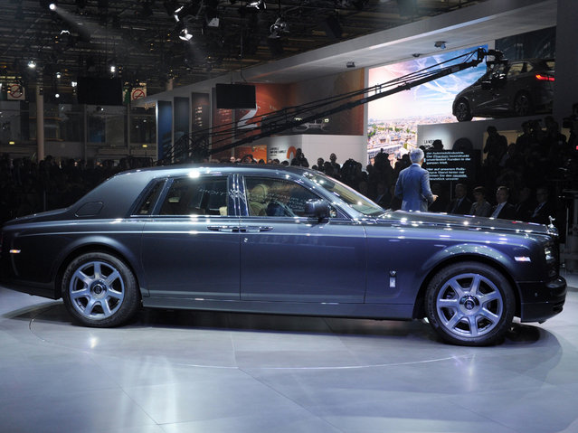 A Rolls-Royce Phantom Metropolitan is displayed at the 2014 Paris Auto Show on October 2, 2014 in Paris, on the first of two press days. (Photo by Eric Piermont/AFP Photo)