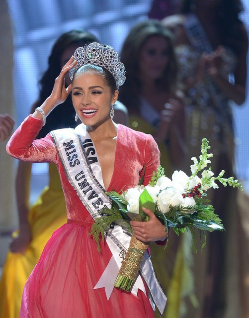 Miss USA, Olivia Culpo walks on stage after being crowned Miss Universe 2012 during the Miss Universe Pageant at Planet Hollywood in Las Vegas, Nevada on December 19, 2012. Eighty-nine countries and territories took part in in this year's pageant