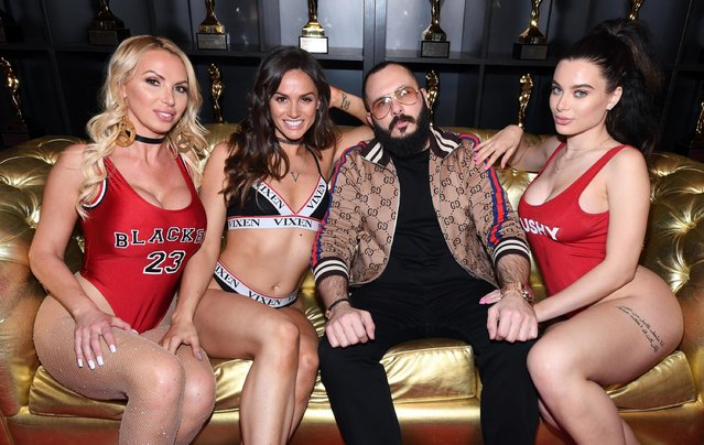 (L-R) Adult film actresses Nikki Benz and Tori Black, adult film producer/director Greg Lansky and adult film actress Lana Rhoades appear at Lansky's Blacked, Tushy and Vixen adult studios booth at the 2018 AVN Adult Entertainment Expo at the Hard Rock Hotel & Casino on January 24, 2018 in Las Vegas, Nevada. (Photo by Ethan Miller/Getty Images)