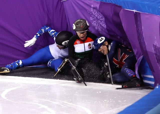 Emina Malagich of Olympic Athlete from Russia, Petra Jaszapati of Hungary and Charlotte Gilmartin of Great Britain crash during the Ladies' 500m Short Track Speed Skating qualifying on day one of the PyeongChang 2018 Winter Olympic Games at Gangneung Ice Arena on February 10, 2018 in Gangneung, South Korea. (Photo by Jamie Squire/Getty Images)