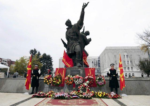 "General view of the memorial monument ""Skopje's Liberators"" in Skopje, Macedonia, November 13, 2014. (Photo by Ognen Teofilovski/Reuters)"