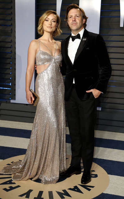 Olivia Wilde and husband Jason Sudeikis attend the 2018 Vanity Fair Oscar Party hosted by Radhika Jones at the Wallis Annenberg Center for the Performing Arts on March 4, 2018 in Beverly Hills, California. (Photo by Danny Moloshok/Reuters)