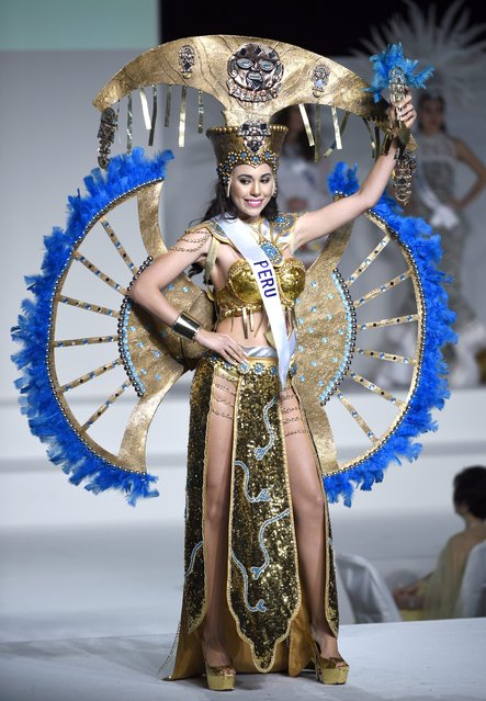 Miss Peru Cynthia Lucia Toth Montoro displays her national costume during the Miss International Beauty Pageant 2015 in Tokyo, Japan, 05 November 2015. (Photo by Franck Robichon/EPA)