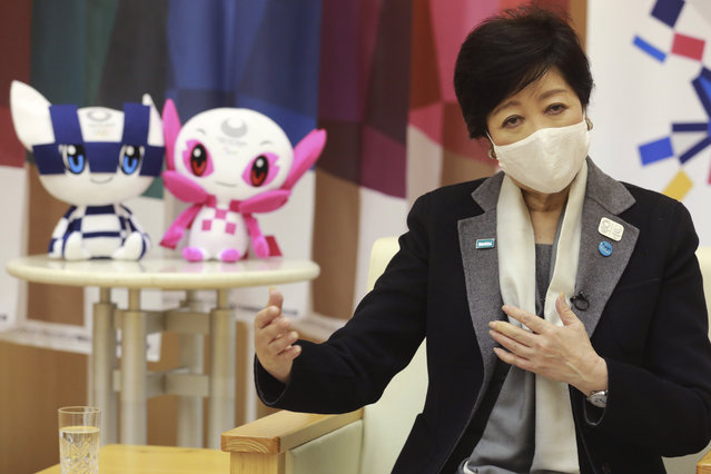"Tokyo Gov. Yuriko Koike speaks during an interview with The Associated Press in Tokyo, Monday, December 14, 2020. The growing availability of coronavirus vaccines is a ""ray of hope"" for hosting the Olympics next summer, Koike said Monday as Japan struggles with a new surge in infections. (Photo by Koji Sasahara/AP Photo)"