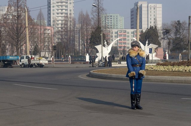 One of the famous traffic cops in Pyongyang, Feburary 2012. (Eric Testroete)