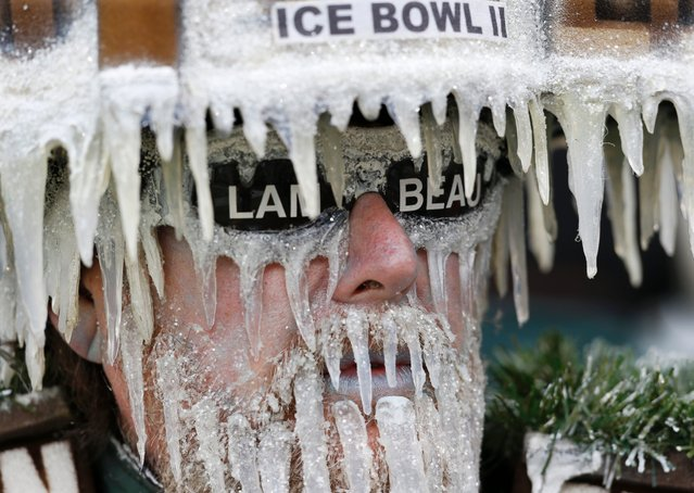 Green Bay Packers fan Jeff Kahlow looks on during an NFL Divisional Playoff football game against the Dallas Cowboys Sunday, January 11, 2015 in Green Bay, Wis. The Packers won 26-21. (Photo by Mike Roemer/AP Photo)
