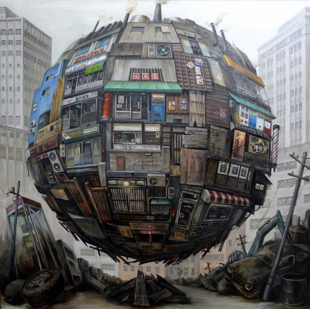 Spherical Floating Orb Painting by Masakatsu Sashie