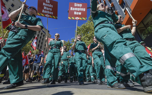 Emergency services personnel take part in an emergency services workers' rally in Adelaide, Thursday, April 1, 2021. (Photo by Roy Vandervegt/AAP Image)