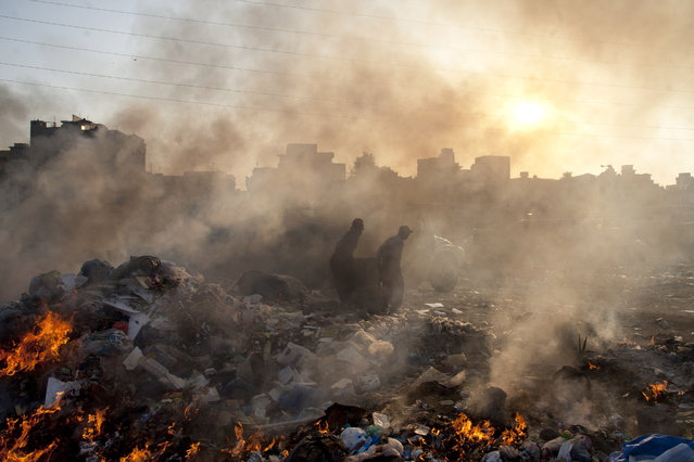 Afghan refugees collect recyclable items from a a heap of garbage to earn their livings, Wednesday, January 28, 2015. (Photo by Shakil Adil/AP Photo)