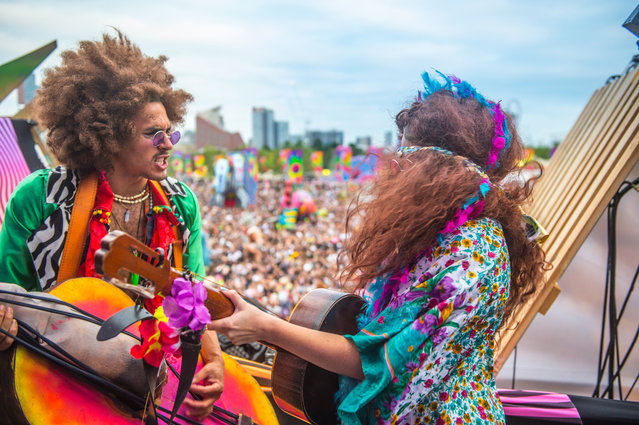 Actors performing on the main stage at Elrow Town at Queen Elizabeth Olympic Park on August 18, 2018 in London, England. (Photo by Ollie Millington/Redferns)