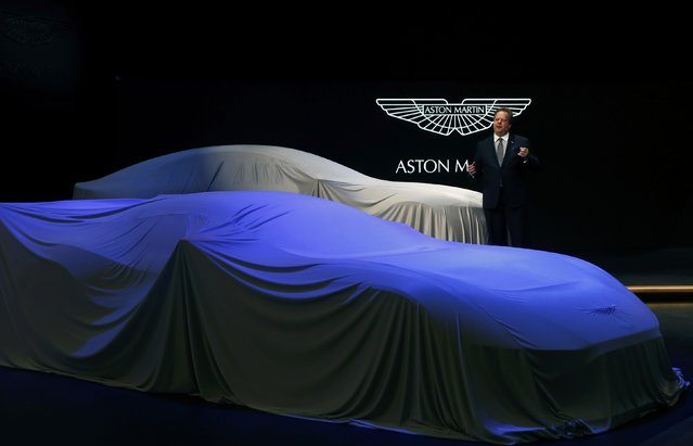 Aston Martin Lagonda Ltd. CEO Andrew Palmer addresses media during the first press day ahead of the 85th International Motor Show in Geneva March 3, 2015. REUTERS/Arnd Wiegmann