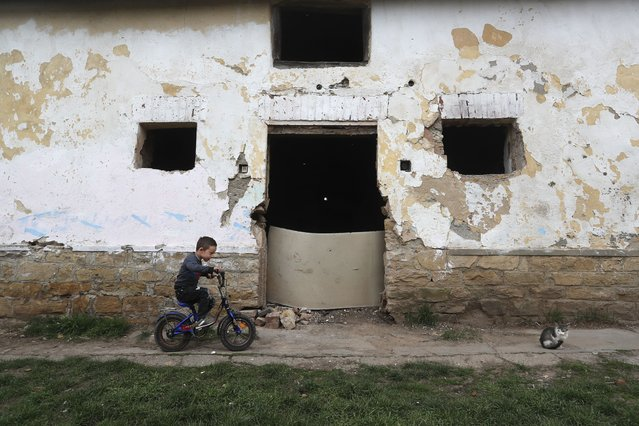 Milan Bastyur, a 4 year old Hungarian Roma child, rides a bike outside his family's home in Bodvaszilas, Hungary, Monday, April 12,2021. Many students from Hungary's Roma minority do not have access to computers or the internet and are struggling to keep up with online education during the pandemic. Surveys show that less than half of Roma families in Hungary have cable and mobile internet and 13% have no internet at all. (Photo by Laszlo Balogh/AP Photo)