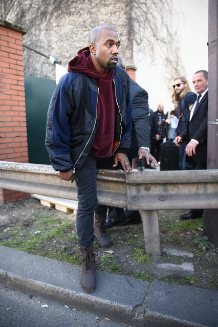PARIS, FRANCE - MARCH 08: Kanye West is seen prior the Chloe show as part of the Paris Fashion Week Womenswear Fall/Winter 2015/2016 on March 8, 2015 in Paris, France.  (Photo by Andreas Rentz/Getty Images)