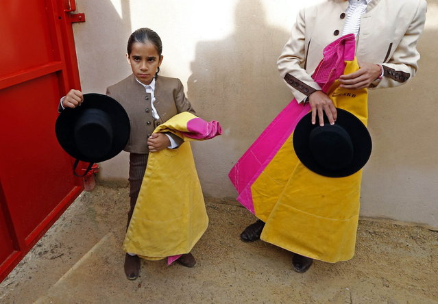 Nino (L), a ten-year-old toreador apprentice of the Nimes bullfighting school, nicknamed El Nino, waits to enter before a beginner's bullfight (becerrada) at the bullring of Bouillargues, near Nimes, October 5, 2013. Since 1983, the French Tauromachy Centre in Nimes has trained some 1,000 youths in the art of bullfighting. Twenty of them have gone on to become professional matadors, facing fighting bulls in the arena. Twice a week, students take courses with a matador to learn the movements and gestures of the bullfighter in the ring, but without an animal present. Students train with calves in the surrounding fields during spring, and regularly participate in beginner's bullfights (becerradas) without killing calves. Solal has been taking courses for three years and Nino, for just a year now. Both are normally enrolled in French public schools, but have one thought in mind – bullfighting. They share a passion linked to the city of Nimes, famous for its ferias and bullring. (Photo by Jean-Paul Pelissier/Reuters)