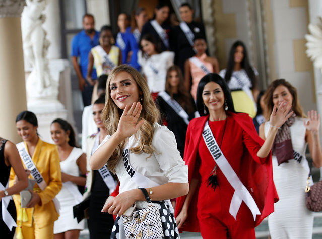 Miss Spain Angela Ponce, the first transgender woman to take part in the Miss Universe contest and with Miss Universe 2018 contestants visit the Government House, after their meeting with Thai Prime Minister Prayut Chan-o-cha (not pictured) to promote the event, at the Government House, in Bangkok, Thailand on December 11, 2018. )Photo by Narong Sangnak/Pool via Reuters)