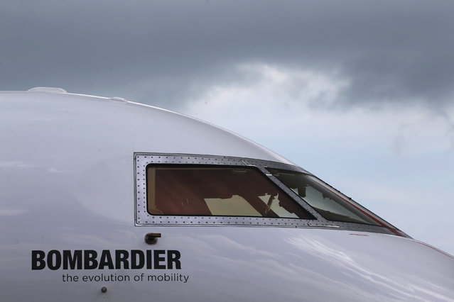 A Bombardier aircraft is displayed at the Singapore Airshow at Changi Exhibition Center February 18, 2016. (Photo by Edgar Su/Reuters)