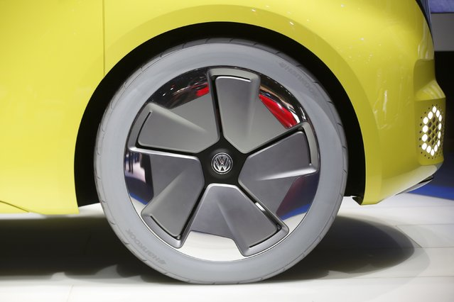 Detail view of a wheel and tire on a Volkswagen I.D. Buzz electric concept vehicle being displayed during the North American International Auto Show in Detroit, Michigan, U.S., January 10, 2017. (Photo by Mark Blinch/Reuters)