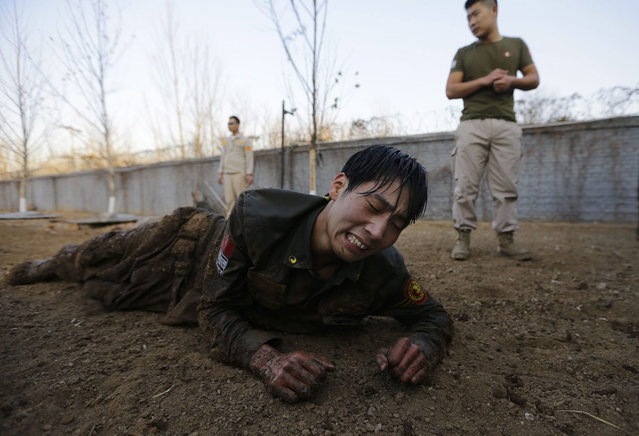 A student reacts as he crawls on the ground during Tianjiao Special Guard/Security Consultant training on the outskirts of Beijing December 1, 2013. (Photo by Jason Lee/Reuters)