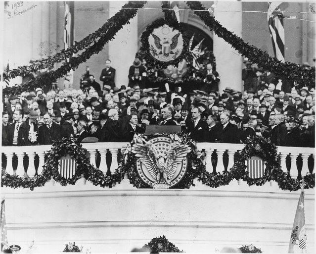 """Franklin Delano Roosevelt takes the Oath of Office from Chief Justice Charles Evans Hughes in Washington, D.C., U.S. in March 1933. Roosevelt's inaugural address that day contained the famous line """"So, first of all, let me assert my firm belief that the only thing we have to fear is...fear itself"""". (Photo by Reuters/Library of Congress)"""