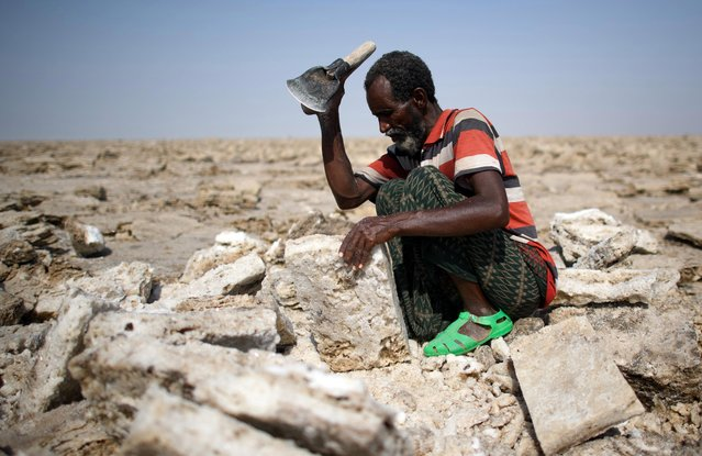 A salt miner works in the heat as he digs out salt blocks by hand in the Danakil Depression on January 22, 2017 in Dallol, Ethiopia. (Photo by Carl Court/Getty Images)