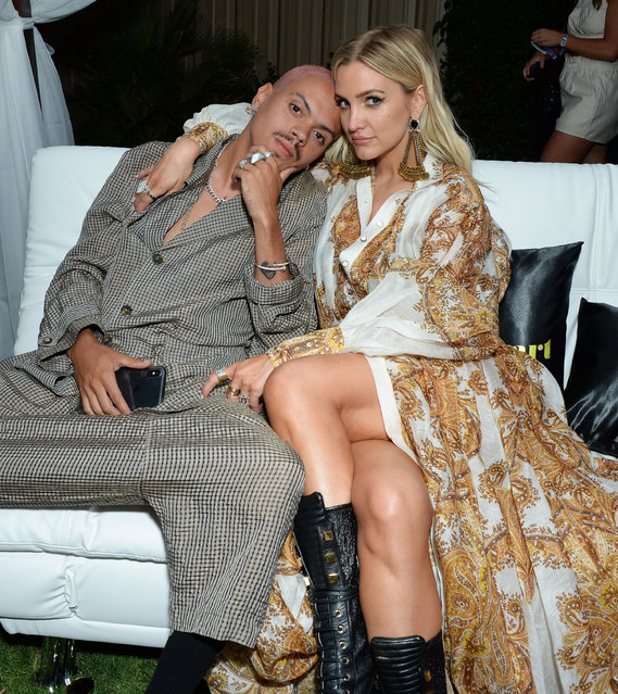 Evan Ross and wife Ashlee Simpson attend NYLON's Midnight Garden Party 2019 on April 13, 2019 in Bermuda Dunes, California. (Photo by ENT/Splash News and Pictures)