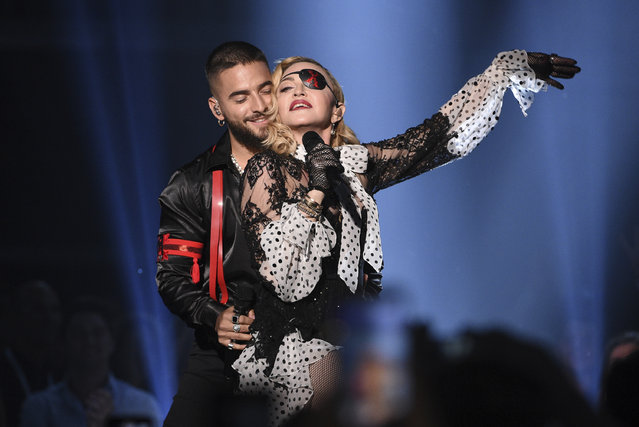 """Maluma, left, and Madonna perform """"Medellin"""" at the Billboard Music Awards on Wednesday, May 1, 2019, at the MGM Grand Garden Arena in Las Vegas. (Photo by Chris Pizzello/Invision/AP Photo)"""