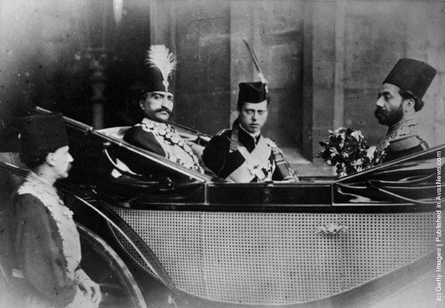 1880: Prince Leopold (1853 - 1884), Duke of Albany, youngest son of Queen Victoria, in a carriage with Nasser-Al-Din, the Shah of Persia