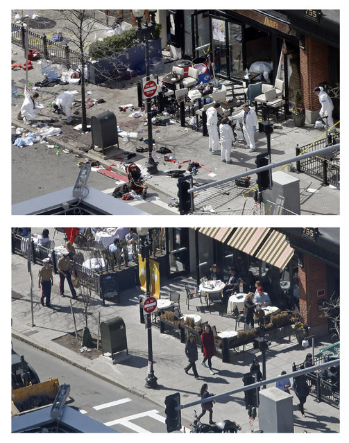 This combination of April 15, 2013  and April 10, 2014 photos show a view of Boylston Street in front of the Forum restaurant, where investigators comb for evidence at the site where the second of two bombs exploded near the finish line of the 2013 Boston Marathon, and pedestrians walking past the same spot almost a year later in Boston. (Photo by Elise Amendola/AP Photo)