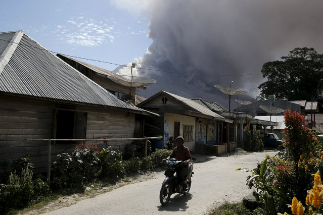 A resident rides a motorcycle as ash spews from Mount Sinabung volcano during eruption at Gamber village in Karo Regency, North Sumatra province, Indonesia June 29, 2015. (Photo by Reuters/Beawiharta)