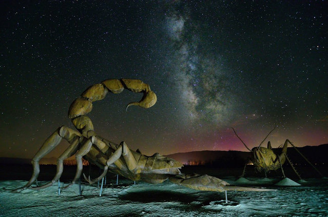 "Ricardo Breceda's sculpture garden. Lee waited for a moonless night to capture the Milky Way, and he light painted the sculptures to ""conjure up a sort of 1950s sci-fi movie feel, with two atomic creatures doing battle under the stars"". Borrego Springs, California. (Photo by Ken Lee/Smithsonian.com)"