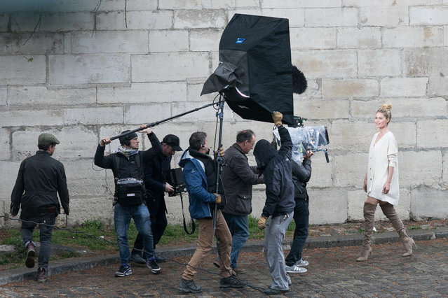 Model Doutzen Kroes is seen during a video shooting on March 31, 2017 in Paris, France. (Photo by Marc Piasecki/GC Images)