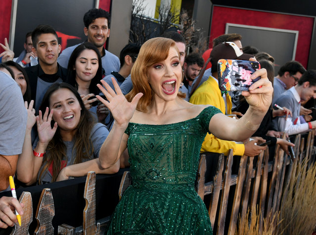 """Jessica Chastain arrives at the premiere of Warner Bros. Pictures' """"It Chapter Two"""" at Regency Village Theatre on August 26, 2019 in Westwood, California. (Photo by Kevin Winter/Getty Images)"""