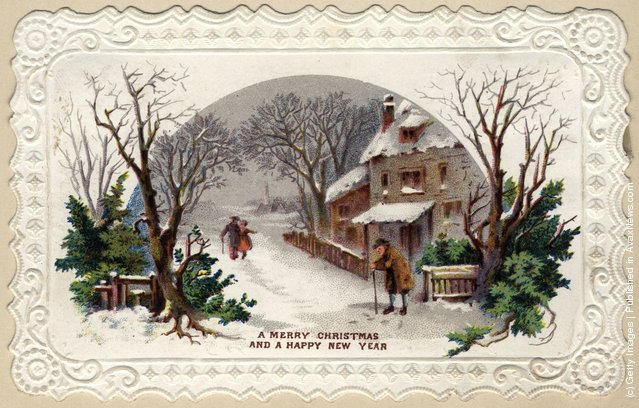 1881: An embossed-edged Christmas and New Year's greetings card