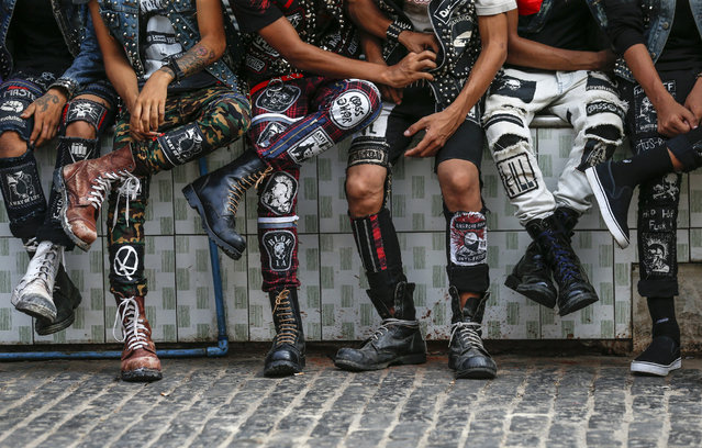 Myanmar punks wearing customized attire take part in a punk gathering ahead of the Thingyan water festival in Yangon, Myanmar, 12 April 2017. (Photo by Lynn Bo Bo/EPA)