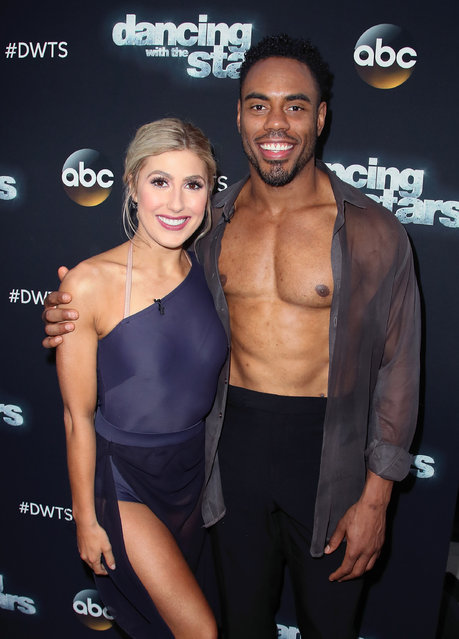 """Dancer Emma Slater (L) and NFL player Rashad Jennings attend """"Dancing with the Stars"""" Season 24 at CBS Televison City on April 10, 2017 in Los Angeles, California. (Photo by David Livingston/Getty Images)"""